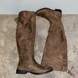 Tan over the knee laced boots